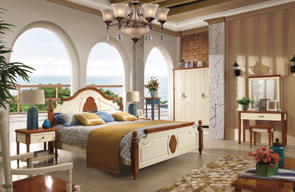 2015 Hot Sale Mediterranean Style Wooden Bedroom Furniture
