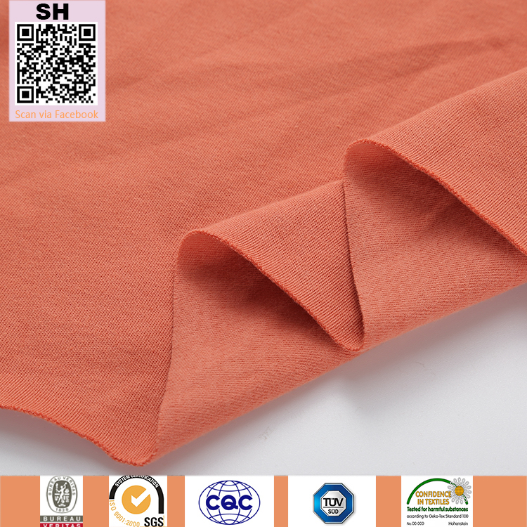 New deigns of Solid 95%Cotton 5%Lycra Knitted Interlock one side peach brush for Spring