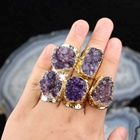 AM-YYT43 Freeform Shape Crystal Amethyst Rings Purple Druzy Amethyst Stone Ring Gold Silver Plated Band Rings Jewelry Design