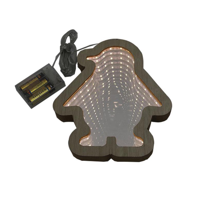 3D Infinity Mirror Lamp Penguin Shape wooden Night Light Led decor Lamp for Christmas Decoration supplies