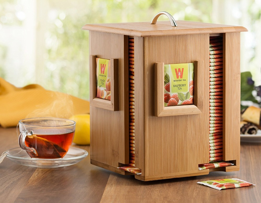 Bamboo Display Tea Box Organizer Tea Bags Holds Beautiful Wooden Storage Boxes & Bins Food Container Eco-friendly Square Modern