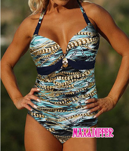 Free shipping Sexy Chain Print green One Piece MONOKINI SWIMSUIT SWIMWEAR size S M L XL