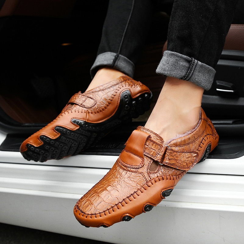 Wholesale Winter Genuine Leather Men Casual Shoes Mens Loafers Moccasins Slip On Men's Flats Loafers Male Shoes
