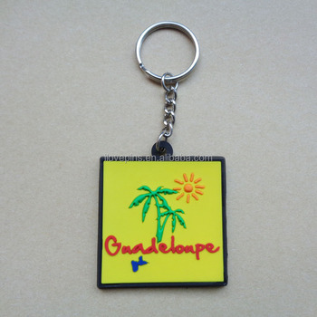 Promotional travel souvenir gifts custom Guadeloupe city France landscape logo soft pvc keychain