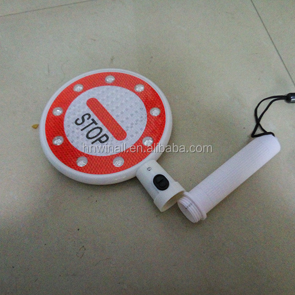 reflective handheld police stop and go sign light