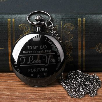 "Wholesale vintage lettering ""TO MY DAD Quartz Pocket Watch Retro Pendant Necklace Antique Pocket Watch"