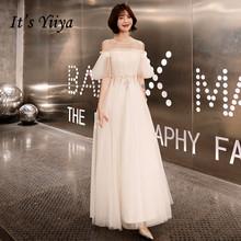 Пром платья с Половина рукава It's YiiYa , платья выпускного вечера Тюль Плюс Размер , с O-образным вырезом, Простые индивидуальные, Белые A-Line Длин...(Китай)