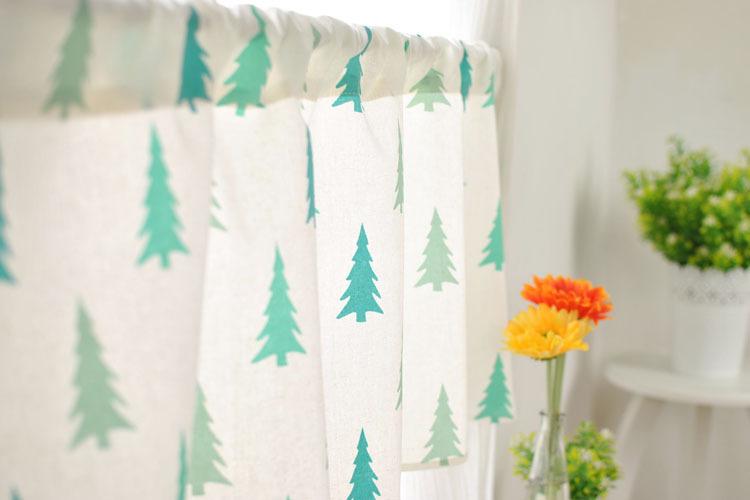 Window Treatments Lozujoju Fresh Korean Kitchen Cloth Fabric Green Curtain Short Halfcurtain Toilet Small Windows Decoration Short Kitchen Curtain