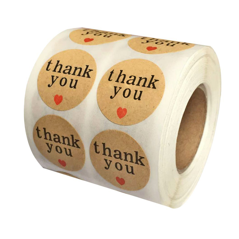 Natural Paper Kraft Thank You Sticker Labels With Red Black Hearts 1 Inch Round 1000 Stickers Per Roll Buy Thank You Stickers Kraft Paper Thank You Stickers Kraft Paper Thank You Stickers Love Shape Product On