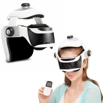 Electric Wireless Eye Head Massager Helmet Infrared Heat Compression Soothing Music Relax