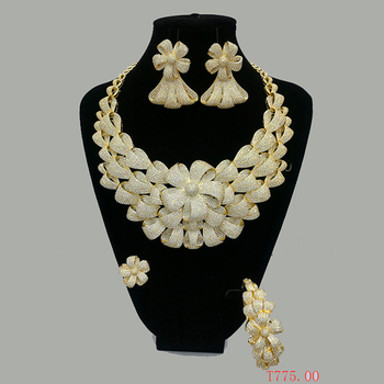 S-123 Xuping luxury designs gold plated indian bridal jewelry set for wedding, women set gold plated jewelry