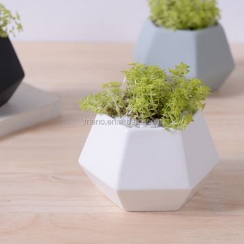 New Deign Small Hexagon Matte Porcelain Indoor Decorative Pots Planters Modern Ceramic Flower Pots Wholesale,modern Not Coated
