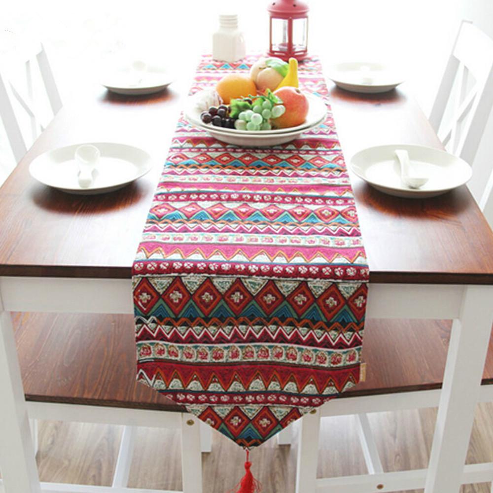 yazi Red Bohemian Cotton Linen Wedding Banquet Party Home Decor Table Runner Dresser Scarf 30x200cm