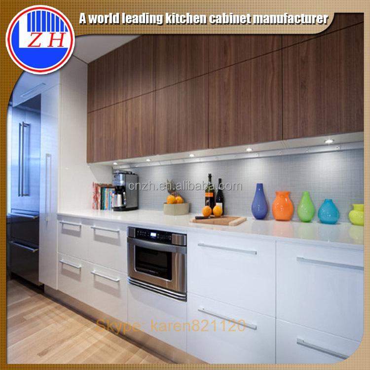 High Gloss Kitchen Cabinet Doors: Painted High Gloss Gray Lacquer Finish Kitchen Cabinet And