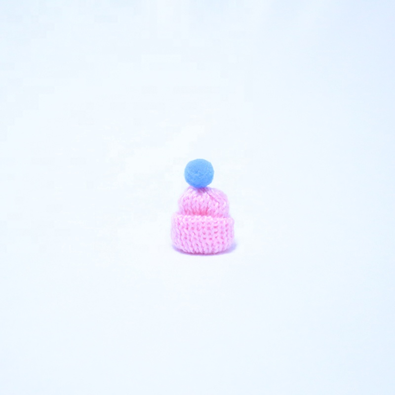 Mini Knitted Pink Hat with Pom Pom Ball for Decoration