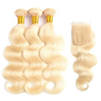 Most fashion 613 hair closure,10a blonde bundles with closure,100% natural blonde lace frontal