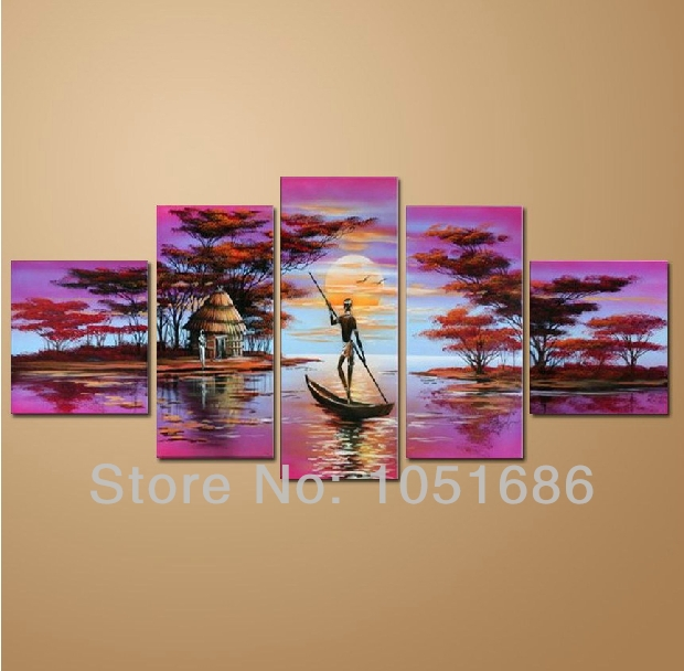 hand painted modern african american art sunset landscape Small Living Room Ideas Modern Living Room
