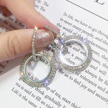 Женские серьги золотого цвета с кристаллом, элегантные геометрические серьги с большим круглым кольцом, украшения для ушей, подарок, новый ...(Китай)