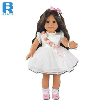Top sale fashion white doll 6 style assorted full vinyl cute loli 18 inch doll for sale