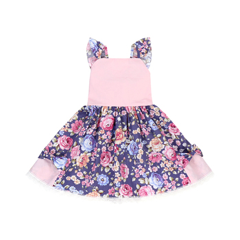 Flower girl dress wholesale children bow pockets dresses baby frock design cutting