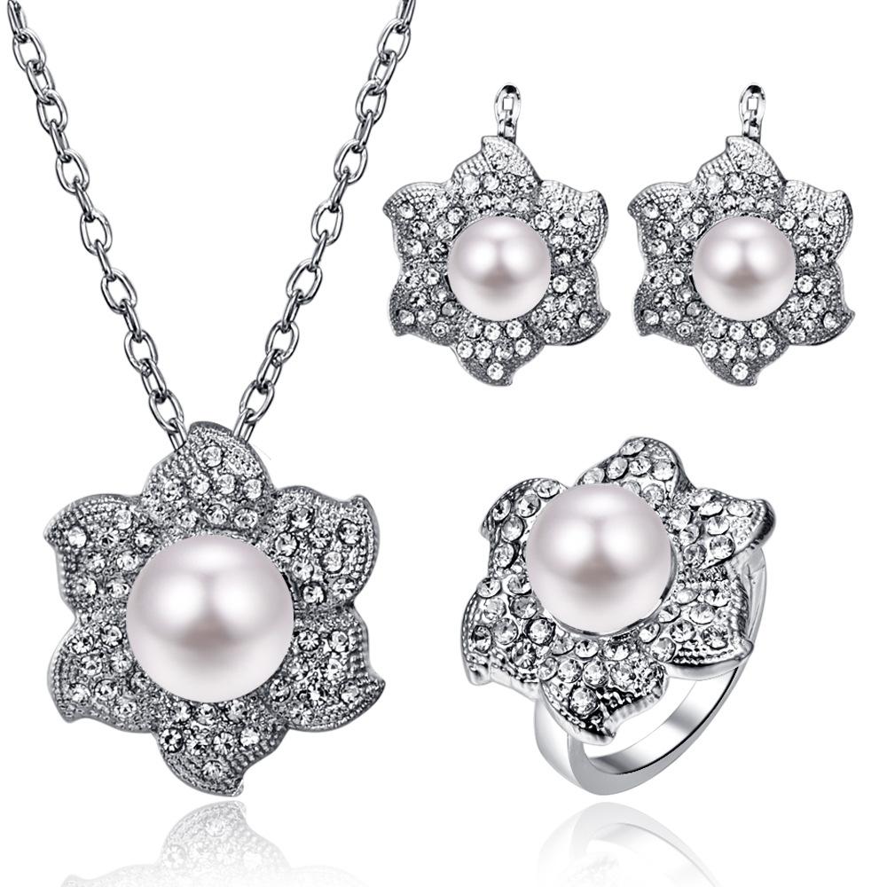 23d3a37bd0303 van12 Flower Pearl Necklace Earrings Ring Three-Piece Set Pop Jewelry  Wedding Bridesmaid Bridal Set