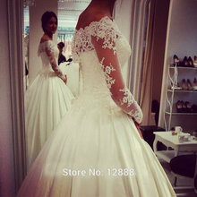 Women Dress Wedding Long Off The Shoulder Satin Lace Ball Gown Wedding Dresses With Sleeves 2015