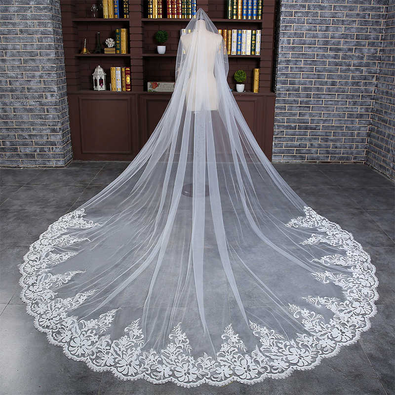 3M veil One Layer Lace Edge Ivory White Cathedral Wedding Veil Long Bridal Veil