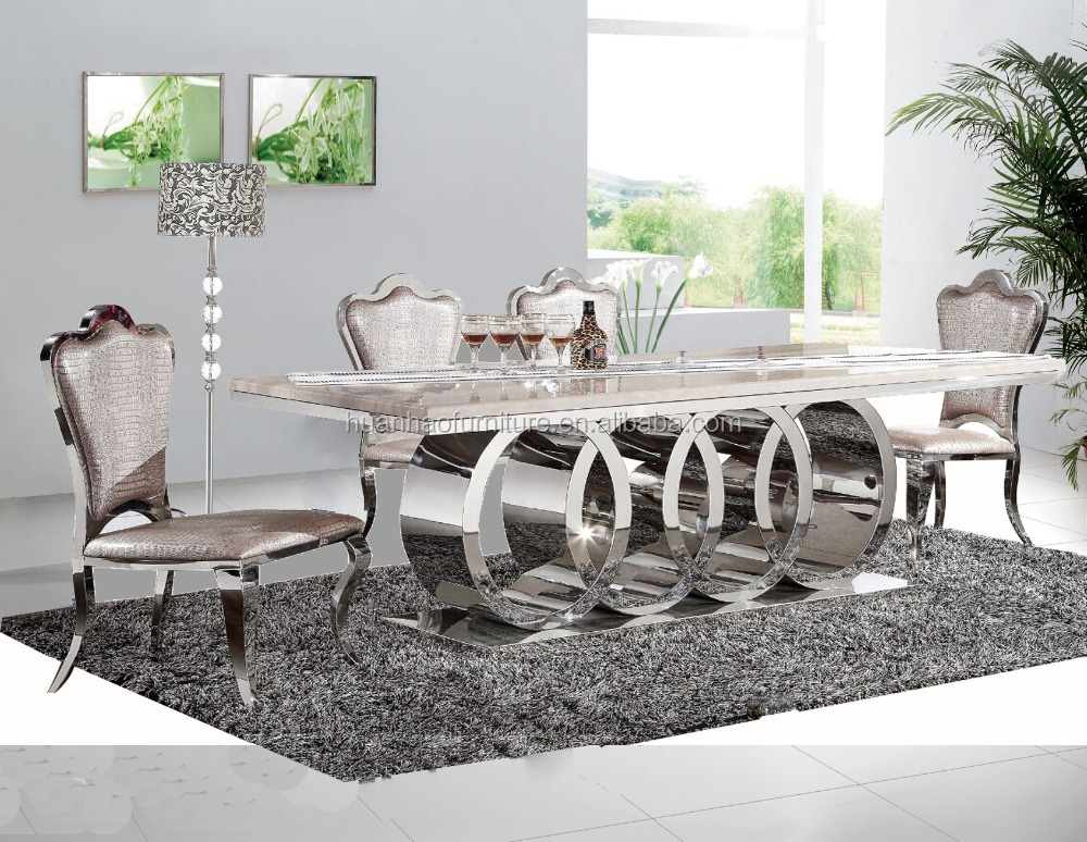 Dh 1405 New Design 10 Seater Marble Top Stainless Steel Leg Dining Table Set View Dining Table Set Oem Odm Product Details From Foshan Huanhao Furniture Co Ltd On Alibaba Com