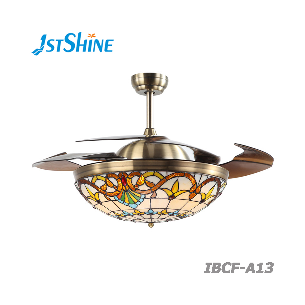 42' remote control hotel and bedroom LED light rotating ceiling fan with retractable blades
