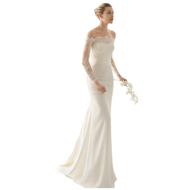 Simple Elegant Wedding Dresses With Sleeves: Simple Cheap Elegant Long Sleeves Wedding Dresses Lace