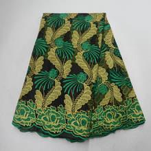 Африканская кружевная ткань с вышивкой и камнями, французское Тюлевое кружево, 5 ярдов/штука, африканская сетчатая кружевная ткань для афри...(Китай)