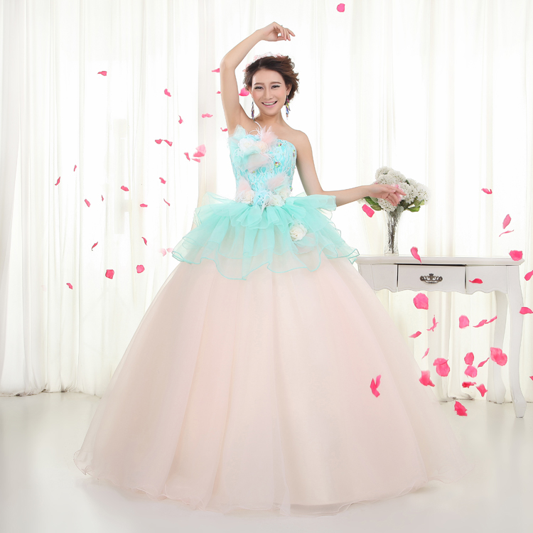 Plus Size Bridal Gowns Colorful Wedding Dress Light Blue