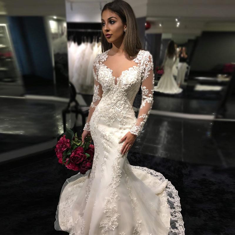Sheer Lace Long Sleeve Satin Mermaid Wedding Dresses: 2016 Long Sleeve Muslim Wedding Dress High Neck Lace
