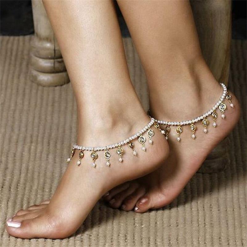 7689c19eb босиком сандалии жемчужина ножной браслет кристалл кисточкой лодыжки  браслет ног цепи женщина леди женщин тусовщицы регулируемый