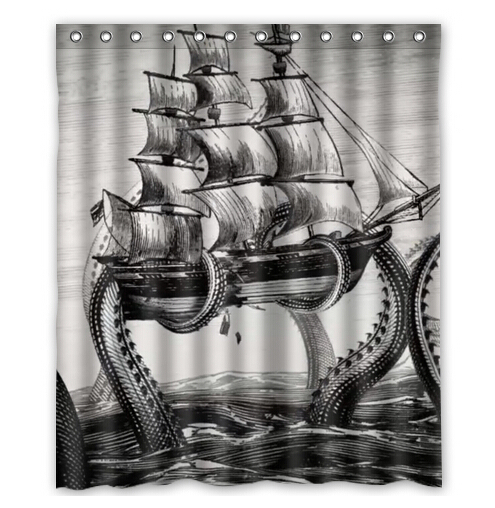 Free Shipping Cool Kraken Octopus Custom Shower Curtain Home Decor Bathroom Waterproof Fabric Fashion Bath Curtain #SCN-043