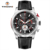 Stainless steel watch racing style oem multifunction leather strap men watches