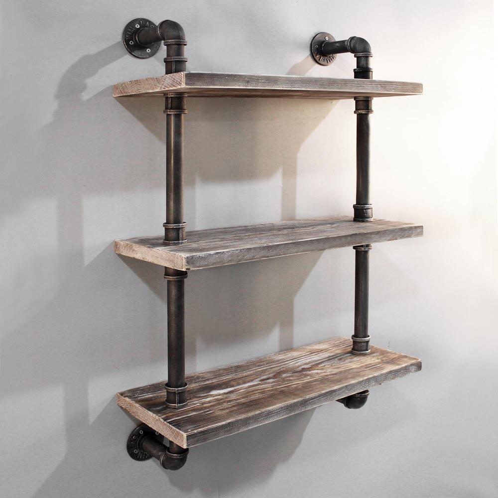 20 Level Rustic Industrial Diy Pipe Shelf,Display Shelves Wall ...