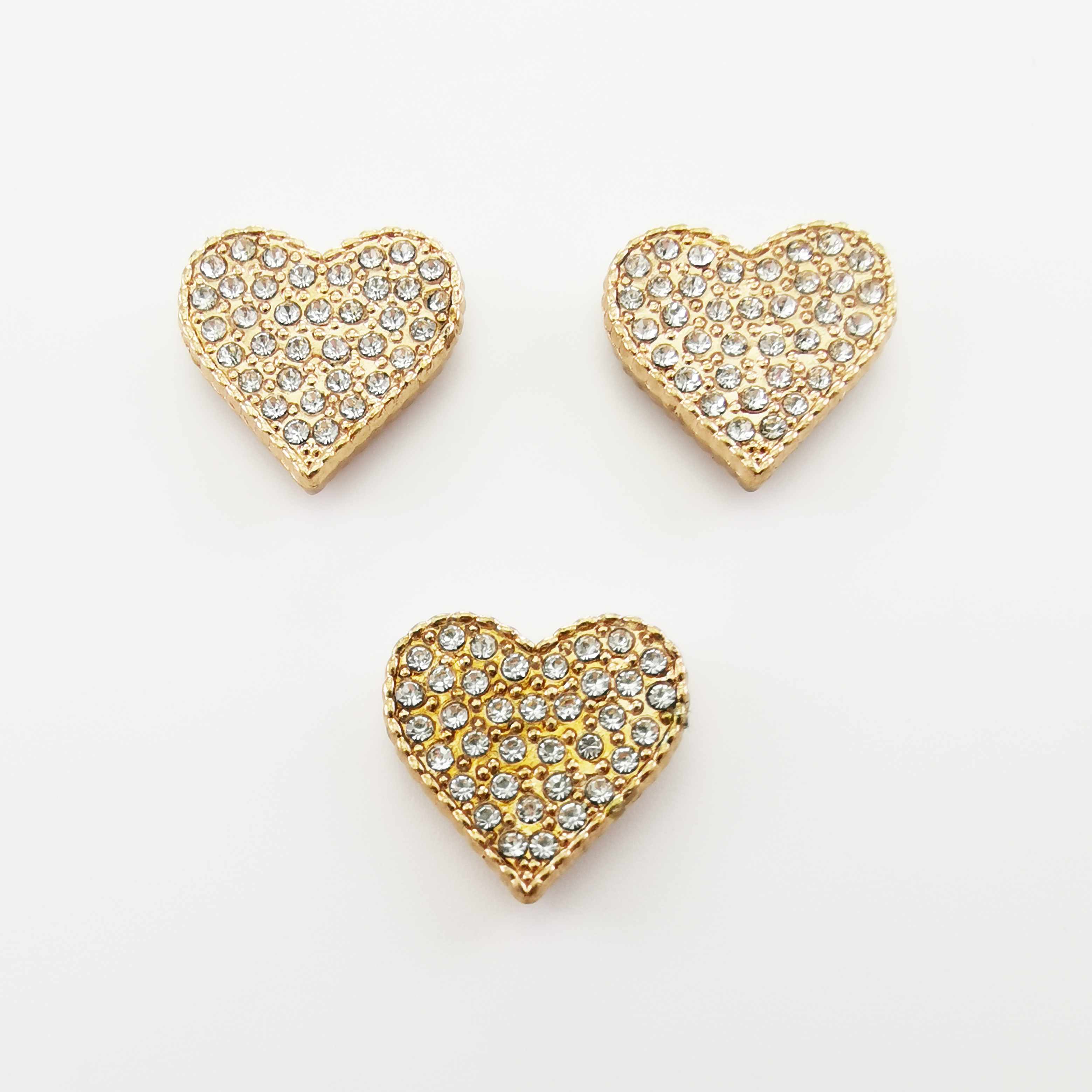 Metal  Heart  Button Rivet  Decoration with Stone