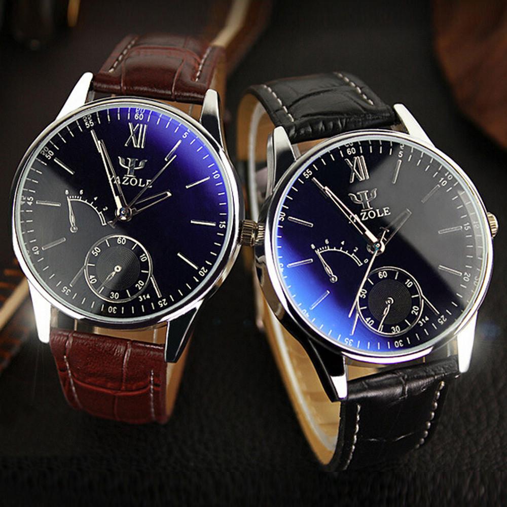 Splendid Luxury Brand Fashion Faux Leather Blue Ray Glass Men Watch 2015  Quartz Analog Business Wrist Watches Men Montre Homme Cheap Designer Watches  Cheap ... 18483b0e1a0