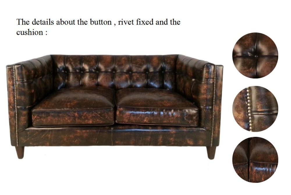 Distressed Leather Sofa For Livingroom