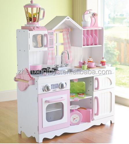 Классический цветной детский большой деревянный кухонный игровой набор, игрушка