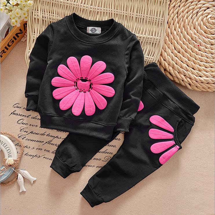 B21571A Новейшая модная весенне-Осенняя детская модная толстовка с круглым вырезом и принтом Детский костюм из двух предметов