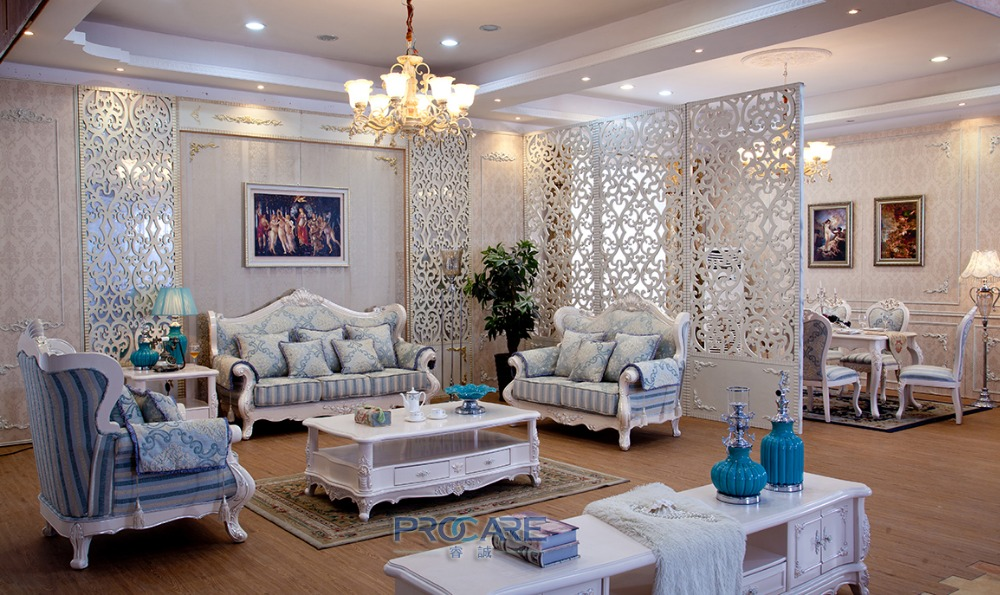 Turkish Blue And White Fabric Sofa Set Solid Wood