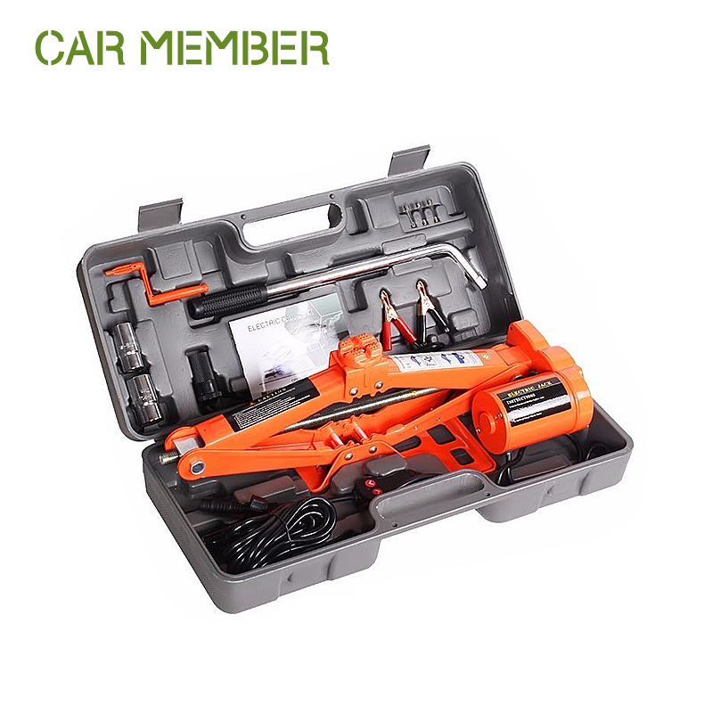 1.2t electric powered car jack and wrench electric scissors jack 12v mini auto hydraulic jack