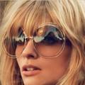 J36 New big circle round frame sunglasses for women bicyclic female fashion personality Oculos Feminino oversized