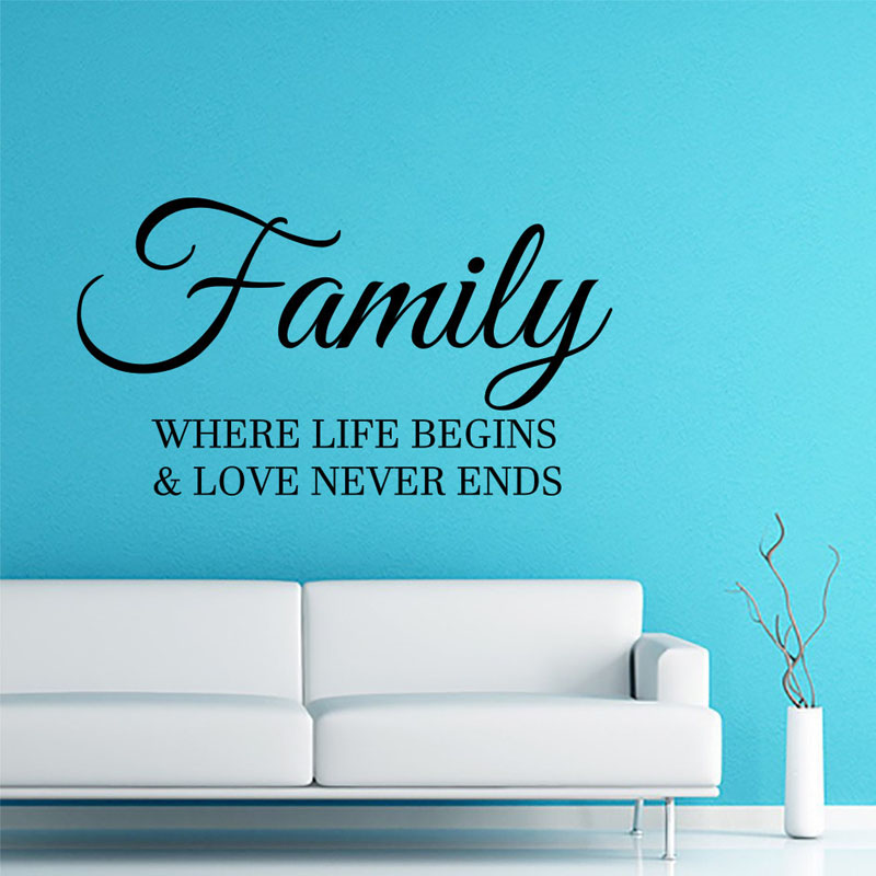 Simple Design Home Decor Family Where Life Begins And Love Never Ends Wall Sticker Vinyl Removable Letters Decals