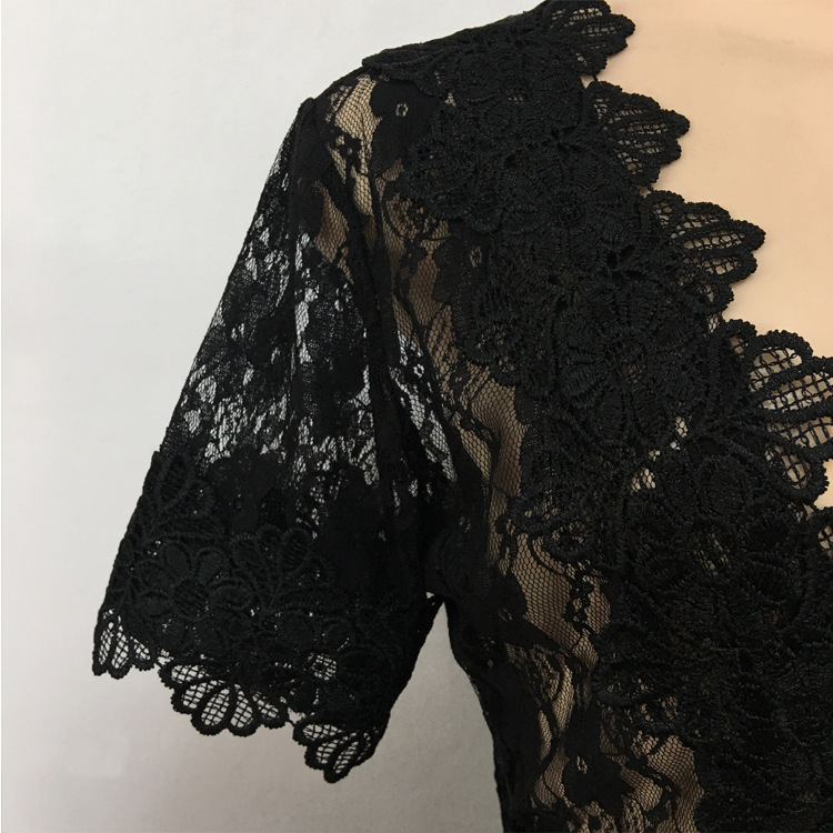 Сексуальное Сетчатое Кружевное облегающее платье с цветочным узором для ночной вечеринки, женское прозрачное тонкое платье-карандаш с глубоким V-образным вырезом EK9104