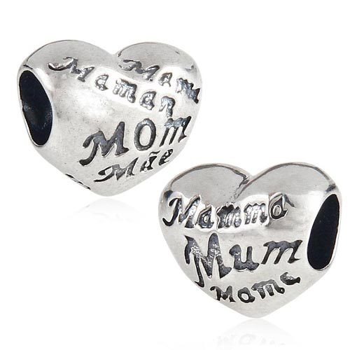 Authentic 925 Sterling Silver Love My Mom Mother Hearts Charm Beads Jewelry Fits Pandora Style Bracelets