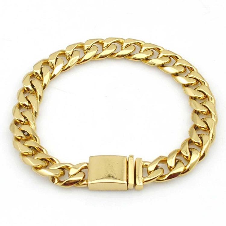 Мужские часы из нержавеющей стали, большие тяжелые КУБИНСКИЙ звено цепи ожерелье золотые кубинские ожерелье браслет набор