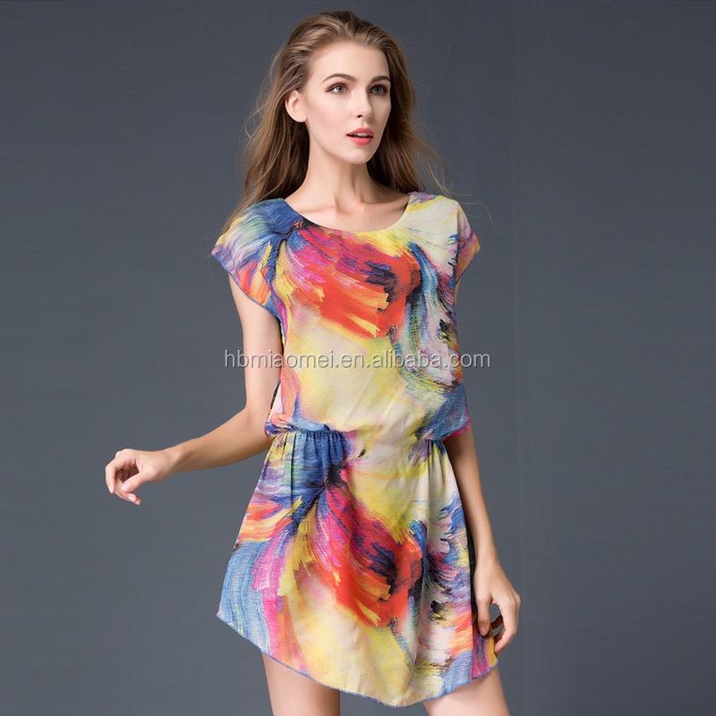 49fc3fc3a36fe أحدث تصميم أنيق ملون طباعة زائد الحجم xxxl المرأة عارضة اللباس الصيف النساء  الملابس 2017